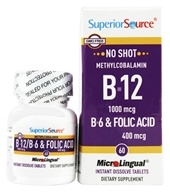 Superior Source - No Shot B12 Methylcobalamin 1000 mcg with B6 & Folic Acid 400 mcg - 60 Tablets (076635906901)