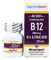 Image of Superior Source - No Shot B12 Cyanocobalamin Instant Dissolve 5000 mcg. - 100 Tablets