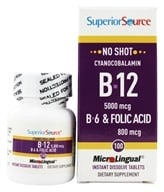 Superior Source - No Shot B12 Cyanocobalamin Instant Dissolve 5000 mcg. - 100 Tablets by Superior Source