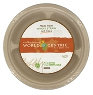 Compostable Wheat Straw Plates 10-Inch 3 Compartments - 20 Count by World Centric