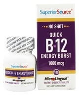Superior Source - No Shot B12 Quick Energy Burst Instant Dissolve 1000 mcg. - 100 Tablet(s) - $11.02