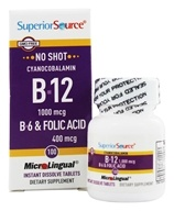 Superior Source - No Shot B12 Cyanocobalamin Instant Dissolve 1000 mcg. - 100 Tablets - $11.46