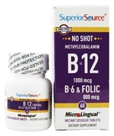 Superior Source - No Shot B12 Methylcobalamin 1000 mcg with B6 & Folic Acid 800 mcg - 60 Tablets (076635907007)