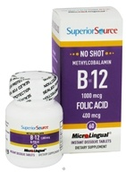 Superior Source - No Shot B12 Methylcobalamin Instant Dissolve 1000 mcg. - 60 Tablets - $10.77