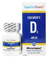 Superior Source - Children's Vitamin D3 Instant Dissolve 400 IU - 100 Tablets, from category: Vitamins & Minerals