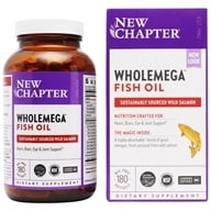 Image of New Chapter - Wholemega Omega Extra Virgin Wild Alaskan Salmon Whole Fish Oil 1000 mg. - 180 Softgels