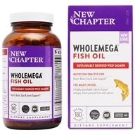 New Chapter - Wholemega Omega Extra Virgin Wild Alaskan Salmon Whole Fish Oil 1000 mg. - 180 Softgels (727783050007)