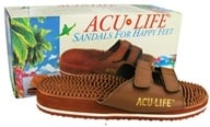 Acu-Life - Massage Sandals With Velcro M6/W7 Brown - 1 Pair - $19.29