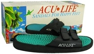 Acu-Life - Massage Sandals With Velcro M5/W6 Black/Teal - 1 Pair CLEARANCE PRICED