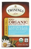 Twinings of London - Organic Camomile with Mint and Lemon Tea - 20 Tea Bags (070177279035)