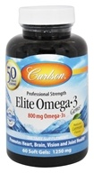 Carlson Labs - Norwegian Elite Omega-3 Gems Fish Oil Professional Strength Lemon Flavored 1250 mg. - 60 Softgels
