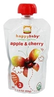 HappyBaby - Organic Baby Food Stage 2 Meals Ages 6+ Months Apple & Cherry - 3.5 oz. (852697001385)