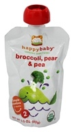 HappyBaby - Organic Baby Food Stage 2 Meals Ages 6+ Months Broccoli, Peas & Pear - 3.5 oz. by HappyBaby