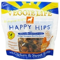 Image of Dogswell - Veggie Life Happy Hips With Glucosamine & Chondroitin Chicken & Sweet Potato Jerky - 15 oz.