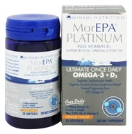 Minami Nutrition - MorEPA Platinum Ultimate Once Daily Omega-3 + D3 Orange Flavor 1100 mg. - 30 Softgels, from category: Nutritional Supplements