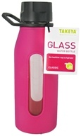 Takeya USA - Classic Glass Water Bottle Fuchsia - 16 oz. (885395130118)