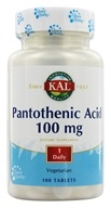 Kal - Pantothenic Acid 100 mg. - 100 Vegetarian Tablets (021245332213)