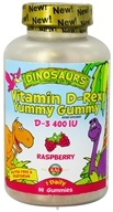 Kal - Dinosaurs Vitamin D-Rex Yummy Gummy D-3 Raspberry 400 IU - 90 Gummies, from category: Vitamins & Minerals