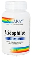 Solaray - Acidophilus Triple Strain Formula Plus Goat's Milk - 200 Capsules (076280048230)