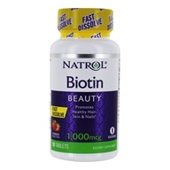 Natrol - Biotin Fast Dissolve Strawberry Flavor 1000 mcg. - 90 Tablets by Natrol