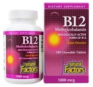 Natural Factors - B12 Methylcobalamin Biologically Active Form of B12 1000 mcg. - 180 Chewable Tablets by Natural Factors