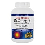 Image of Natural Factors - Ultra RxOmega-3 Factors EPA/DHA 900 mg. - 150 Enteric Coated Softgels