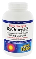 Image of Natural Factors - Ultra RxOmega-3 Factors EPA/DHA with 1000 IU Vitamin D3 900 mg. - 150 Enteric Coated Softgels