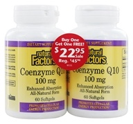 Image of Natural Factors - Coenzyme Q10 100 mg. (60 + 60) Softgels Twin Pack Special