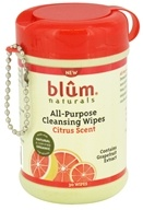 Blum Naturals - All-Purpose Cleansing Wipes Mini Canister Pack Citrus Scent - 30 Wipe(s) by Blum Naturals