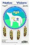 Native Visions - Window Transparencies White Wolf - CLEARANCE PRICED - $4.07