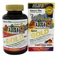 Image of Nature's Plus - Source of Life Animal Parade Gold Children's Chewable Multi-Vitamin & Mineral Natural Assorted Cherry, Orange, Grape Flavors - 120 Chewable Tablets