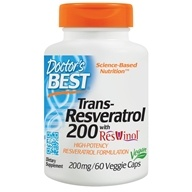 Doctor's Best - Best Trans-Resveratrol 200 Featuring ResVinol-25 200 mg. - 60 Vegetarian Capsules by Doctor's Best