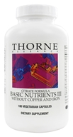 Image of Thorne Research - Basic Nutrients III Citrate Formula without Copper and Iron - 180 Vegetarian Capsules
