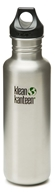 Klean Kanteen - Stainless Steel Water Bottle Classic with Loop Cap Brushed Stainless - 27 oz.
