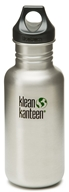 Klean Kanteen - Stainless Steel Water Bottle Classic with Loop Cap Brushed Stainless - 18 oz. (763332027403)