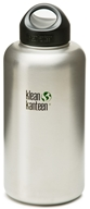 Klean Kanteen - Stainless Steel Water Bottle Wide with Stainless Loop Cap Brushed Stainless - 64 oz. (763332027601)