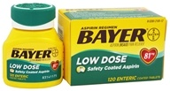 Bayer Healthcare - Bayer Low Dose Safety Coated Aspirin 81 mg. - 120 Enteric-Coated Tablets - $8.89