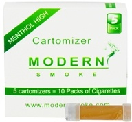 Modern Smoke - Electronic Cigarette Cartomizer Menthol Flavor High Nicotine 16 mg. - 5 Pack(s) (851247003039)