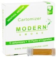 Modern Smoke - Electronic Cigarette Cartomizer Menthol Flavor Medium Nicotine 11 mg. - 5 Pack(s) (851247003169)