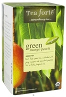 Tea Forte - Green Tea Organic Filterbags Green Mango Peach - 16 Tea Bags