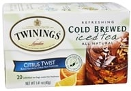 Twinings of London - Iced Tea Cold Brewed Refreshing All Natural Lady Grey - 20 Tea Bags (070177261689)