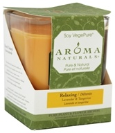 Image of Aroma Naturals - Relaxing Soy VegePure Square Glass Eco-Candle Lavender & Tangerine