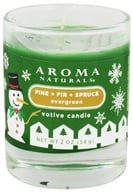 Aroma Naturals - Evergreen Holiday Soy VegePure Votive Glass Eco-Candle Juniper, Spruce & Basil (769360811915)