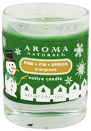 Aroma Naturals - Evergreen Holiday Soy VegePure Votive Glass Eco-Candle Juniper, Spruce & Basil