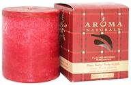 "Image of Aroma Naturals - Peace Ruby Holiday Naturally Blended Pillar Eco-Candle 3"" x 3.5"" Orange, Clove and Cinnamon"