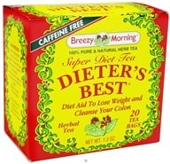 Breezy Morning Tea - Dieter's Best Super Diet Tea 100% Pure & Natural Caffeine Free - 20 Tea Bags (043236219525)