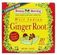 Breezy Morning Tea - West Indian Ginger Tea 100% Pure & Natural Caffeine Free - 20 Tea Bags (043236219815)