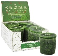 Aroma Naturals - Evergreen Holiday Naturally Blended Votive Eco-Candle Juniper, Spruce & Basil (769360011902)