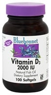 Bluebonnet Nutrition - Vitamin D3 2000 IU - 100 Softgels, from category: Vitamins & Minerals