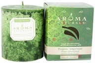 "Aroma Naturals - Evergreen Holiday Naturally Blended Pillar Eco-Candle 3"" x 3.5"" Juniper, Spruce & Basil"